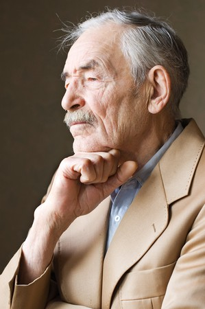 mature old generation: Old man with moustaches in a jacket