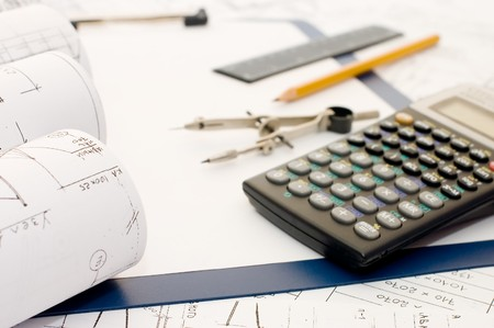 engineering clipboard: Pencil on clipboard and the calculator  Stock Photo