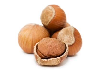 Heap of hazelnuts on white background  Stock Photo - 7075724