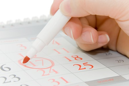 calendar date: Hand writing important date