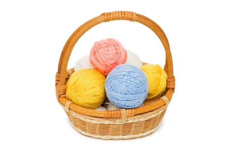 tog: Ball of threads in a basket Stock Photo