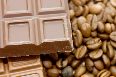Background from coffee beans and chocolate  photo