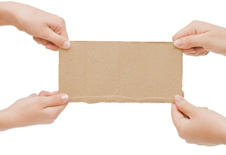 hand holding paper: The cardboard tablet in a hand Stock Photo