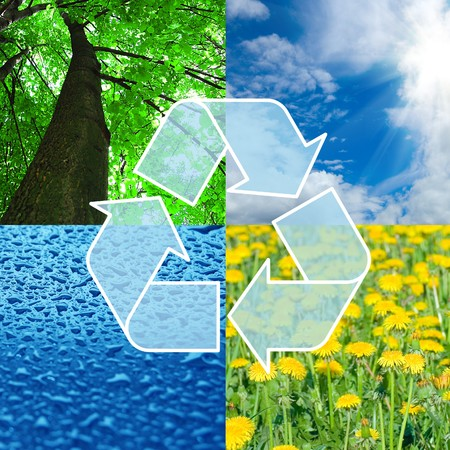 contaminacion ambiental: signo de reciclaje con imágenes de la naturaleza - concepto ecológico