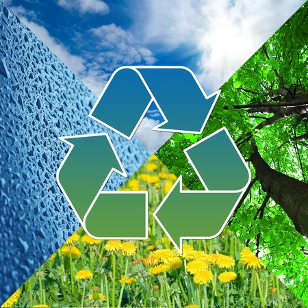 recycling sign with images of nature - eco concept   photo