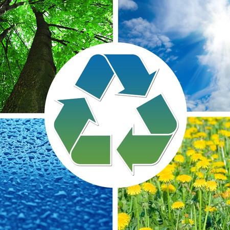 earth pollution: Conceptual recycling sign with images of nature      Stock Photo