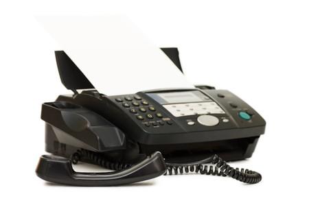 Black Fax isoliert auf weißem Hintergrund