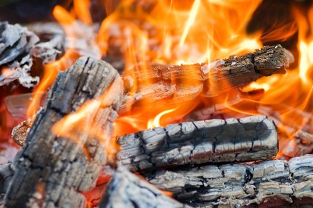 Very hot campfire close up photo