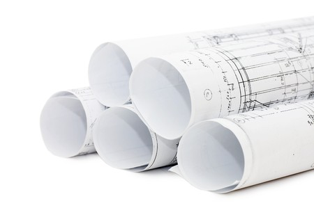 architect drawing: Rolls of Engineering Drawings  Stock Photo