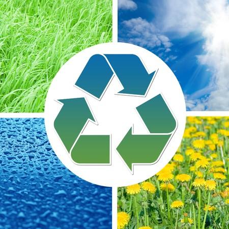 contaminacion del medio ambiente: Conceptual reciclaje signo con im�genes de la naturaleza
