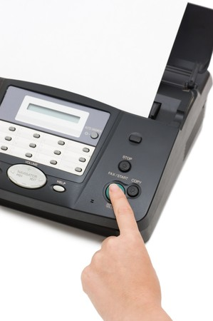 The hand presses the fax button Stock Photo - 7314475