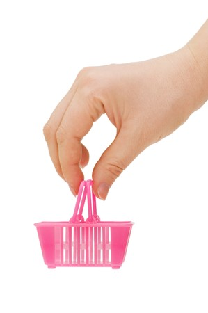 small basket: Basket for purchases in a female hand