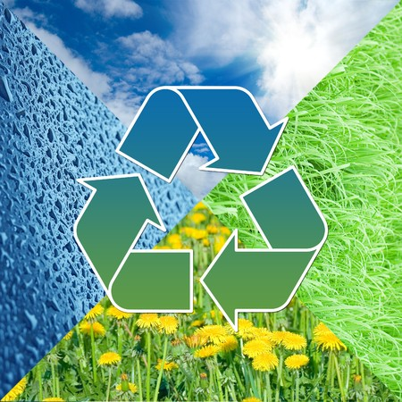 Conceptual recycling sign with images of nature      photo