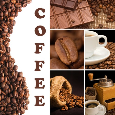 Collage from fragrant coffee photo