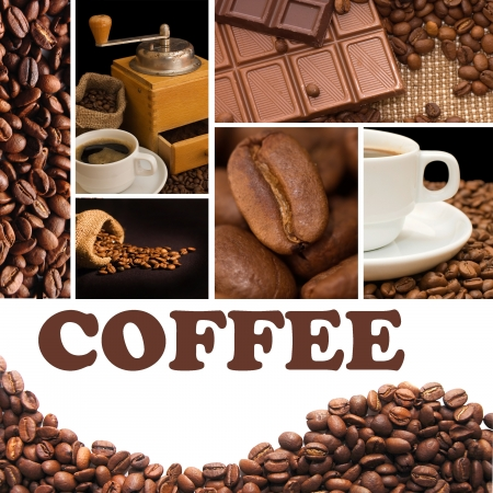 coffee grounds: Collage from fragrant coffee