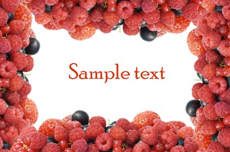 Garden ripe berries frame as background  photo