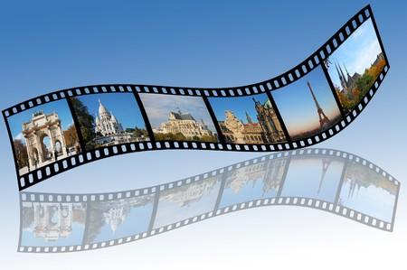 diaporama: bandes de film avec europe photos de voyage. Toutes les photos prises par moi.  Banque d'images