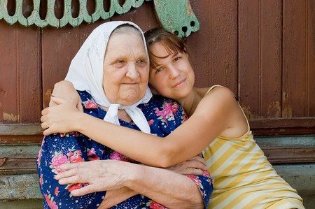Grandmother and granddaughter embraced and happy Stock Photo - 7561662