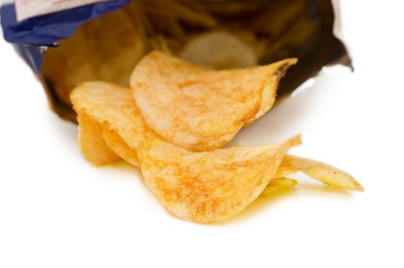 Bag of Potato Chips,isolated on white photo
