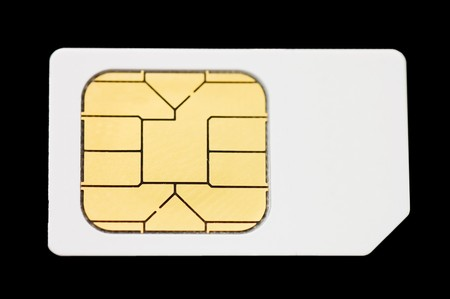 sim: Sim card isolated on black background  Stock Photo
