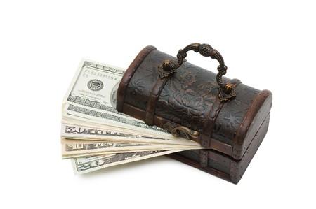 Money  in box isolated on white background photo
