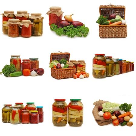 漬物の: 白で隔離される新鮮で缶詰野菜