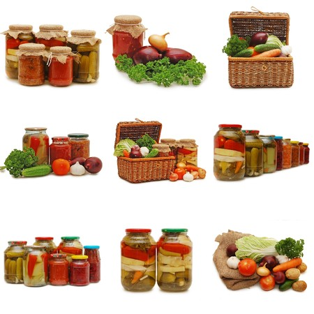 canned food: Fresh and tinned vegetables isolated on white