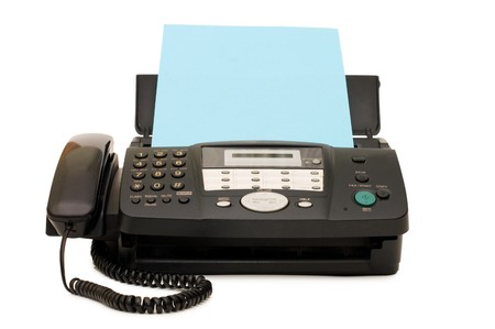 Schwarz Fax isolated on white background