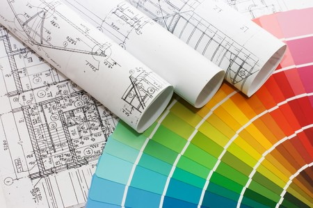 house plan: Color samples for selection with house plan on background  Stock Photo