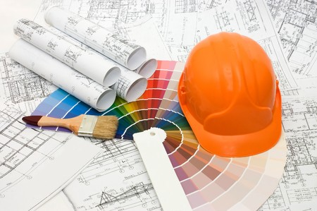 Color samples for selection with house plan on background  Stock Photo