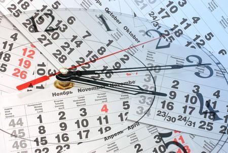 composite: Composite of Clock and Calendar Stock Photo