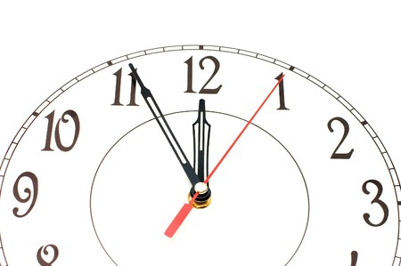 white clock showing time about nine isolated Stock Photo - 8153979