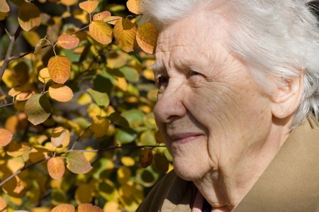 grizzle: Beautiful portrait of an elder woman outdoors Stock Photo