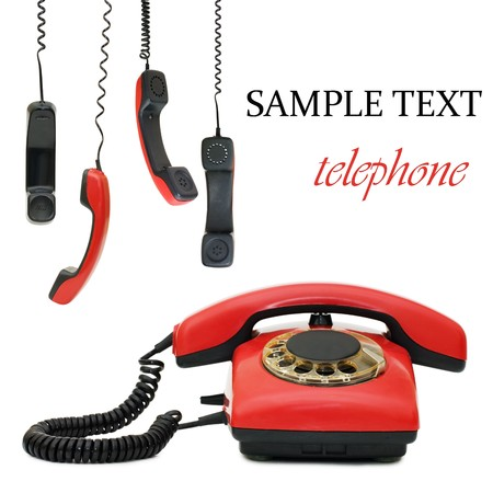 composite: Red old telephone. Composite  Stock Photo