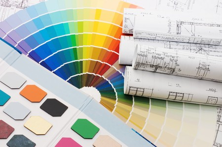 pigments: Color samples for selection with house plan on background  Stock Photo