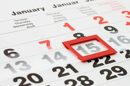 almanak: pagina van agenda met datum van vandaag