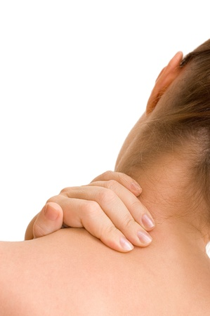 aching muscles: Pain in a neck at the woman Stock Photo