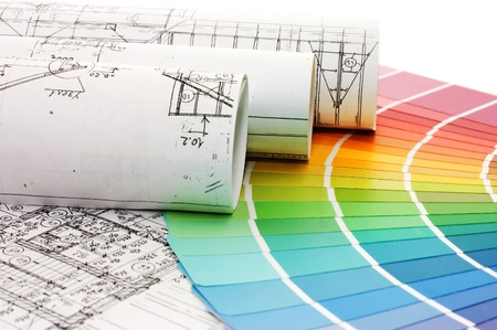 Color samples for selection with house plan on background Stock Photo - 8241783