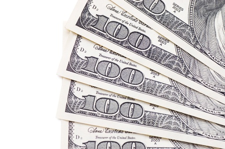 Dollar banknotes isolated on white background  photo