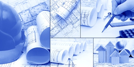 blueprint house: blueprints, construction - a collage as the concept of construction  Stock Photo