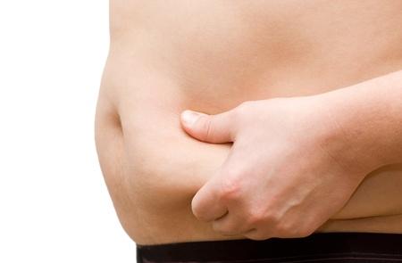 pancia grassa: ventre di un uomo grasso isolato on white