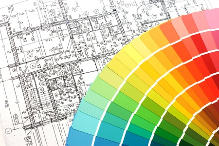 Color samples for selection with house plan on background Stock Photo - 8338581