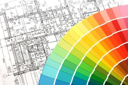 Farbmuster f�r Auswahl mit Haus-Plan auf Hintergrund
