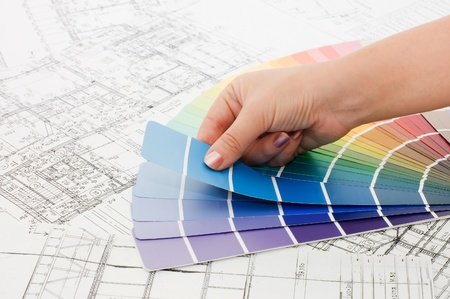 Woman hand pointing to a sample color chart Stock Photo - 8338566