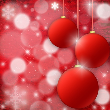 Red Christmas background with fur-tree spheres photo