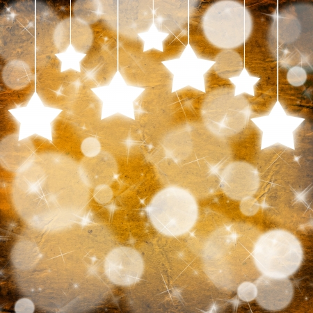 snoflake: Yellow Christmas background with stars Stock Photo
