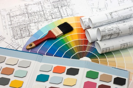 Color samples for selection with house plan on background Stock Photo - 8384031