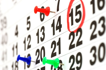 almanac: page of calendar showing date of today
