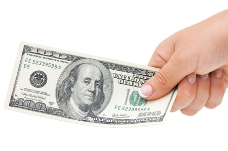 Money in hand, isolated on white background  photo