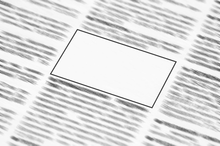 Newspaper with blank space for information  photo